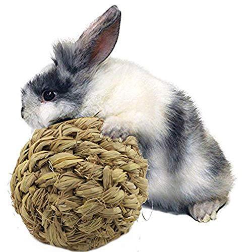 HAODEE Durable Pet Mâcher Jouet Naturel Herbe Balle avec Bell pour Lapin Hamster Guinée de Porc Dent De Nettoyage