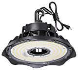 LED High Bay Light 100W 1-10V Dimmable 5000K 13,000lm UFO LED High Bay Light Fixture, 5' Cable with US Plug DLC Complied [175W/250W MH/HPS Equiv.] Commercial Warehouse/Workshop/Wet Location Area Light