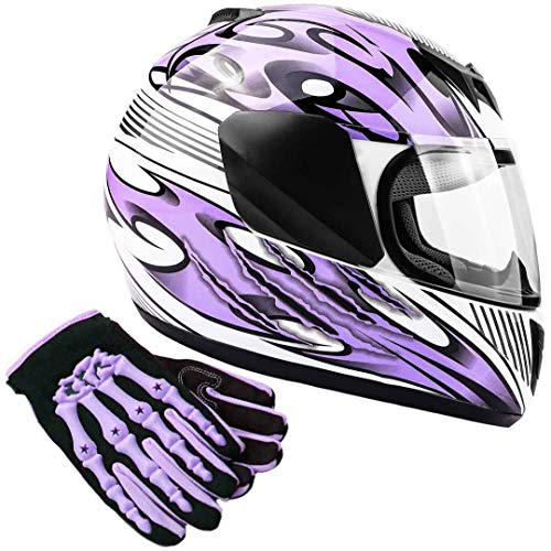 Typhoon Youth Kids Full Face Helmet with Shield & Gloves Combo Motorcycle Street Dirt Bike - Purple (Small)