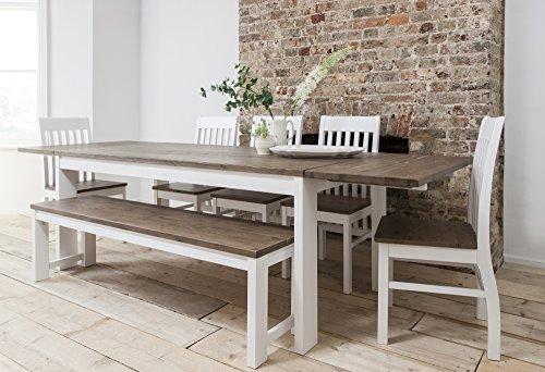 Hever Esstisch mit 5Stühlen & Bank in Weiß und in Dunklem Kiefernholz ausziehbar mit 2x Verlängerungsplatten