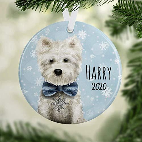 Adorno personalizado Westie Westie, adorno de perro SWest Highland TerrierDog Lover regalo personalizado perro adorno Navidad perro pandemia decoración Navidad adorno boda regalo vacaciones