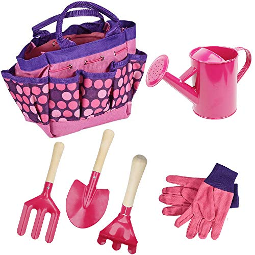 Freehawk Kids Gardening Tool Sets, Toy Shovel Gardening Set, Outdoor Gardening Toy with Wooden Handles & Safety Edges, Includes Carry Bag, Rake, Shovel, Fork, Watering Can, Gloves (Pink)