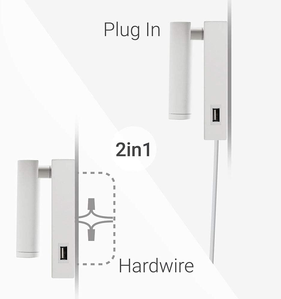 Ahorro de energ/ía Toque USB Iluminaci/ón de pared para la sala de estar etc. ARKTIVO LED Toque USB Focos para la Pared Toque USB L/ámpara de Pared 3000K Warm White Apliques para Lectura 3W