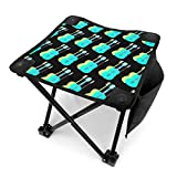 ghkjhk8790 Camping Stool Folding Green Blue Guitar Portable Chair Camping Hunting Fishing Travel with Carry Bag