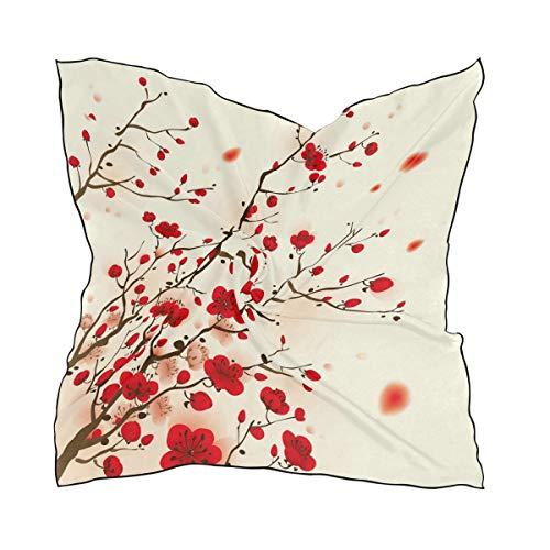 QMIN Quadratischer Schal, japanisches Blumenmuster, Kirschblüte, modisches Kopftuch, leicht, Haarband, ordentlicher Halstuch, für Damen, 60 x 60 cm