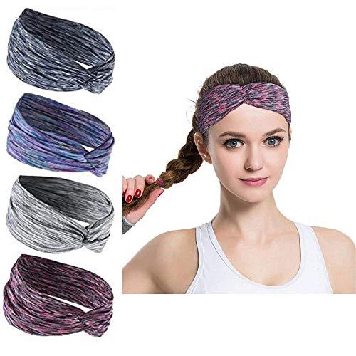 4 Stück Damen Boho Stirnband,Anti Rutsch elastische Stirnband Kommt Mit Cross Design Schweißband für Yoga,Reiten,Basketball,Joggen