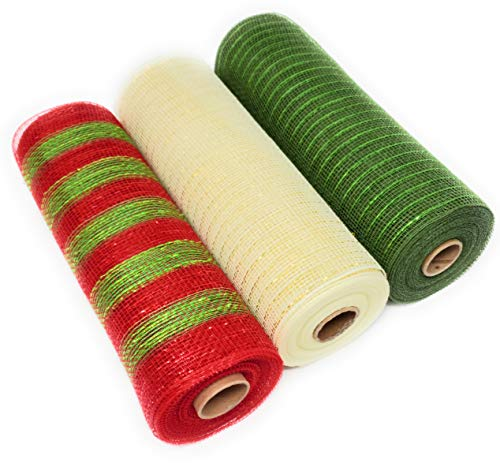 Christmas 10 inch, 10 Yard Deluxe Decorative Metallic Deco Mesh Rolls (Moss, Cream, Red and Green Stripes)