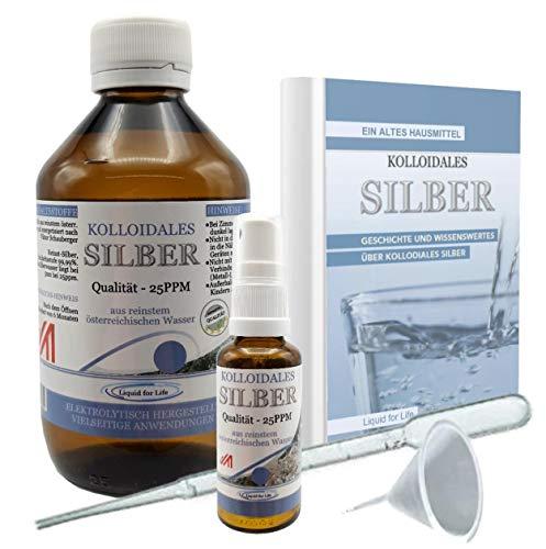 LIQUID FOR LIFE® Kolloidales Silber 25ppm - 500ml Silberwasser - inklusive 30ml Sprühflasche und Zubehör, in STRAHLENSCHUTZVERPACKUNG und RATGEBER