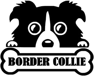 Wwwx 2Pcsanimal Border Collie Bone Cute Car Stickers Black 13.5Cm*11Cm
