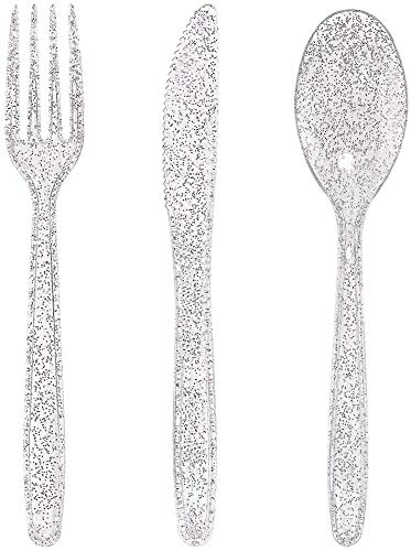 Plastic Cutlery Silverware Extra Heavyweight Flatware, Full Size Cutlery Combo, Glitter Silver, 24 Forks, 12 Spoons, 12 Knifes, Value Pack 48 Count