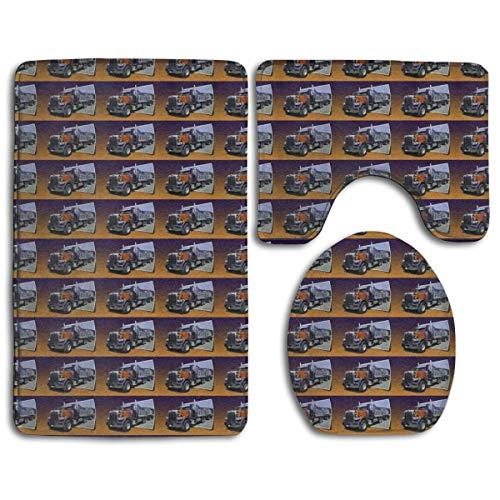 N/A Badkamer Memory Foam 3 Stuks Set (1 Badtapijt, 1 Contour Mat, 1 Dekseldeksel), Extra Zachte Anti-slip Absorbens Uit Beeld Peterbilt Dump Truck Matten Tapijten voor Tub, Douche, Badkamer