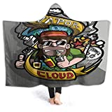 prunushome Hooded Blanket Vape Badge Logo Draw Colors It S Show About E Cig in A Clou Vapor Comfort Adult Creative Hood Sherpa Plush Fleece Wearable, 80W by 60H Inches
