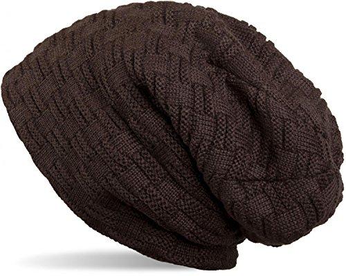 styleBREAKER warme Feinstrick Beanie Mütze mit Flecht Muster und sehr weichem Fleece Innenfutter, Unisex 04024058, Farbe:Dunkelbraun