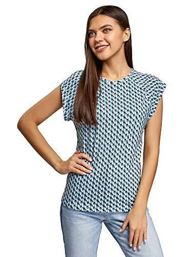 oodji Ultra Donna T-Shirt in Cotone Stampato, Blu, M