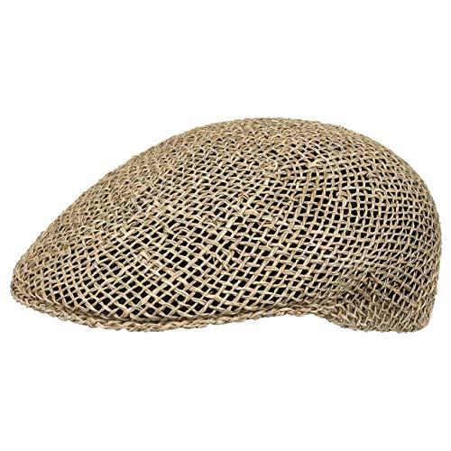 Lipodo Strohflatcap Damen/Herren - Sommercap aus 100% Stroh - Flat Cap Made in Italy - Hinten mit Stretchband - Flatcap in 55-61 cm - Schirmmütze Frühjahr/Sommer Natur 55 cm