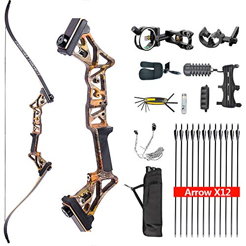 HYF Takedown Recurve Bow Package for Hunting, Adults Ready to Shoot Archery Set,Bow and Arrows,40lbs,45lbs,50lbs (Forest camo, 50lbs)
