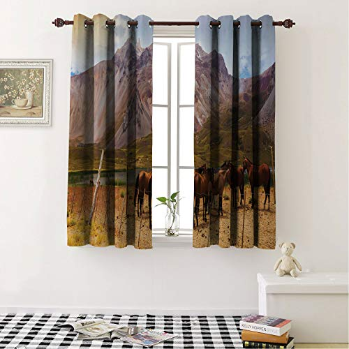 Blackout Room Darkening Thermal Insulated Argentina Mountain View on The Andes from Valley Las Lenas Region and Silky Brown Horses Multicolor Living Room, Curtain Panels for Patio Door 183 x 183 cm
