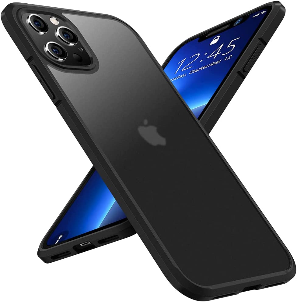 X-level Shockproof Compatible iPhone 13 Pro Max Case Protective [Military Grade Drop Protection] Frosted Translucent Anti-Drop Hard PC Back with Soft Silicone Edge Slim Thin Cover-Black