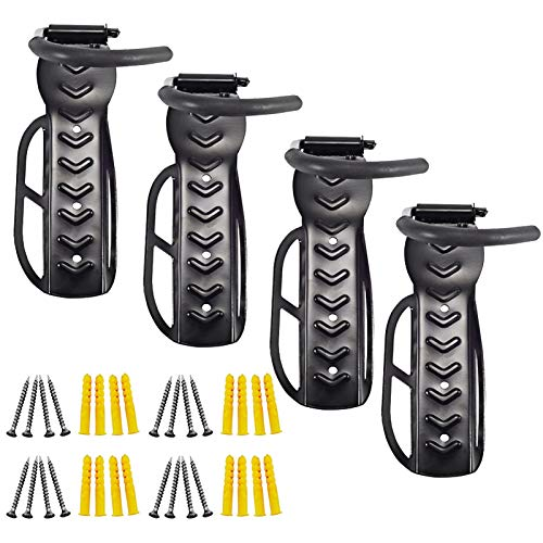 Trintion 4Pcs Bike Wall Mounts Bicycle Holders Rack Vertical Wall Mounted Bicycle Storage Hanging Bike Wall Mounts Bike Hooks for Garage Or Outdoor Use Holds up to 30 Kg