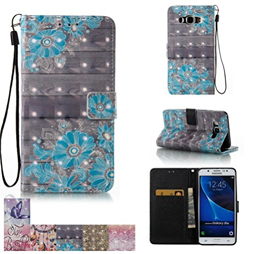 Galaxy J5 2016 / J510 Case, Firefish Kickstand Flip [Card Slots] Wallet Cover Double Layer Shell with Magnetic Closure Strap Protective Case for Samsung Galaxy J510/ J5 2016 -Blue Flower