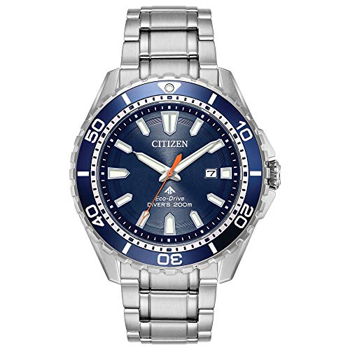 Citizen Men's Eco-Drive Japanese-Quartz Diving Watch with Stainless-Steel Strap, Silver, 22 (Model: BN0191-55L)