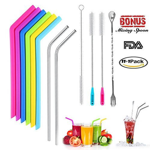 Silicone Drinking Straws for 30 OZ Yeti Tumbler, Reusable Straws Flexible Stainless Steel Straws FDA Smoothie Straws With Storage Pouch, Extra Long Brushes and Mixing Spoon Set Of 12 for Rtic Tumbler