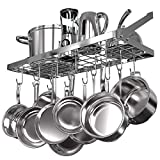 Vdomus Square Grid Wall Mount Pot Rack, Kitchen Cookware Hanging Organizer with 15 Hooks,29.3...