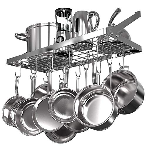 Vdomus square grid wall mount pot rack, kitchen cookware hanging organizer with 15 hooks,29.3 by13-inch (silver)