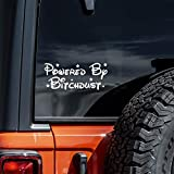 Powered by Bitchdust Decal Vinyl Sticker Cars Trucks Walls Laptop Funny | White | 7.5'