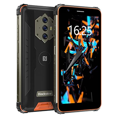 Rugged Smartphone, Blackview BV6600E Android 11 Cellulari Offerte con 8580mAh Batteria, 5.7 Pollici, 4GB RAM+32GB ROM, 13MP+5MP, Cellulare Antiurto 4G, GPS OTG Face ID Dual SIM Telefoni-Arancia