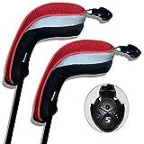 Andux coprimazza da Golf per ibridi 2pcs/Set Intercambiabile No. Etichetta Nero/Rosso MT/hy01