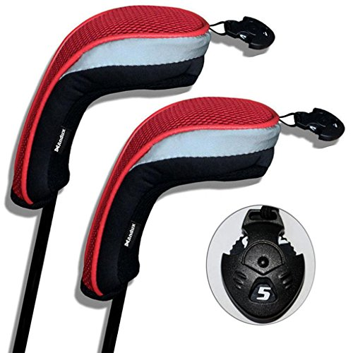 2 Pack Andux Golf Hybrid Club Head Covers Interchangeable No. Tag MT/hy01 Black & Red