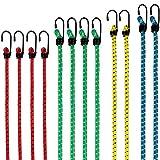 PRETEX Set de 12 Gomas elásticas con Gancho, Extremadamente Resistentes, Bandas de tensión, Cuerdas de sujeción, pulpos para baca