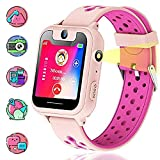 Vannico Montre GPS Enfant, Montre Enfants Garcon Voice Chat SOS Camera Torch Games Alarm Clock for Kids Gift Smart Watch Phone for School Children 3-14 Years Compatible with iOS/Android (Rose)
