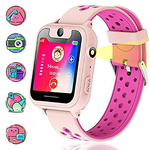 Image of Themoemoe Kids Smartwatch, Kids GPS Tracker Watch Smart Watch Phone for Kids SOS Camera Game Compatible with 2G T-Mobile (Pink)
