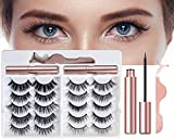 Magnetic Eyelashes with Eyeliner Magnetic Eyelashes Natural Look Pestañas Postizas Magneticas 10 pairs fake eyelashes 2 Magnetic Eyeliner tweezer Easy to Wear Long Lasting No Glue Needed Reusable