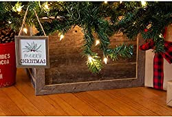 BarnwoodUSA | Wooden Tree Box Collar | Natural Weathered Gray | Farmhouse Tree Box | Christmas Tree Skirt | Rustic | Decorations | Home Accent | Vintage | 100% Reclaimed & Recycled Wood | 4 Sides, rustic Christmas decor, Christmas farmhouse decorations, farmhouse Christmas tree