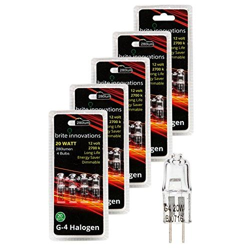 Brite Innovations G4 Halogen Bulb, 20 Watt (20 Pack) Dimmable Soft White 2700K -12V-Bi Pin -, T3 JC Type, Clear Light Bulb