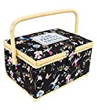 Singer Medium Rectangle Sewing Basket Box for Organizing Notions (Hummingbirds and Butterflies)