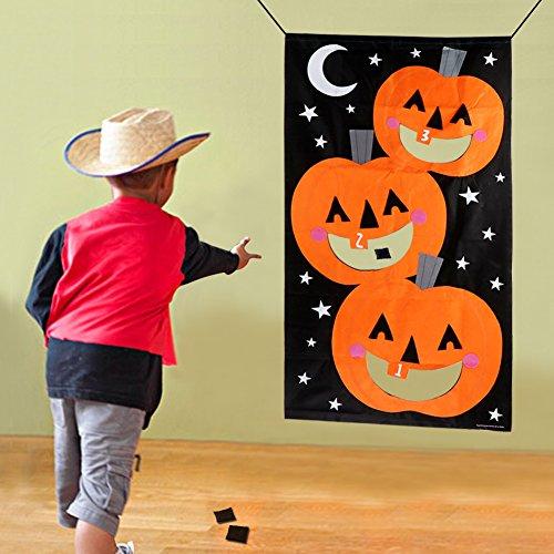 AerWo Halloween Kürbis Spiel Hängende Art Kürbis Bohnenbeutel Toss Spiel + 3 Bohnenbeutel, Halloween Party Cornhole Party Spiele für Kinder und Erwachsene 76X138cm