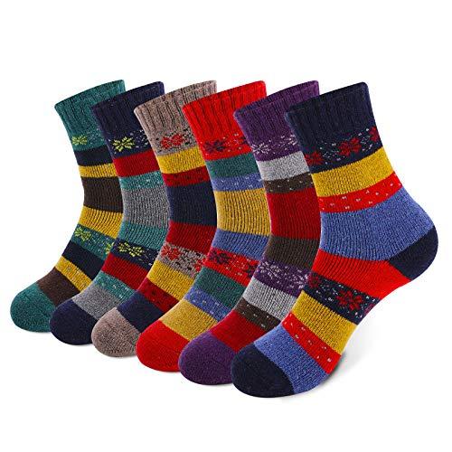 MOSOTECH Damen Warme Socken, 6 Paar Dicke Thermo Wintersocken Verdicken Bunte Stricksocken für Damen Frauen - Baumwolle und Wolle Mischen, Gemütlich Atmungsaktiv, Größe35-41