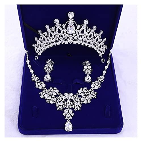 MaoLi Juego de collar y pendientes de corona de princesa clásica para novias, accesorios para el cabello (color: un juego, tamaño: 15,5 cm)