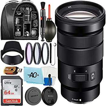 Sony SELP18105G - E PZ 18-105mm f/4 G OSS Power Zoom Lens with SanDisk 64GB Memory Card Backpack Hood 3 pcs Filter and A-Cell Accessories Bundle