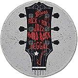 Not Applicable Tapis de Souris Rond en Caoutchouc antidérapant Guitare Genres dessinés à la Main Blues Pop Hard Rock Reggae Country Music Illustration Vermilion Black White 7.9'x7.9'x3MM