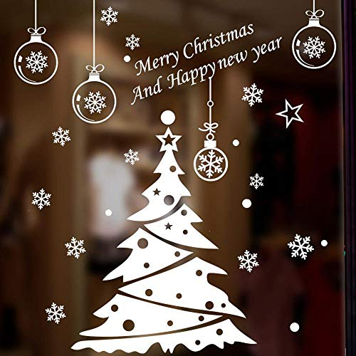 HUIHU Christmas Tree Decoration Glass Window Wall Sticker Wall Decals Festival Home Decor Happy New Year Stickers