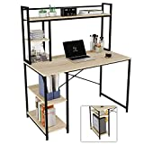 Nost & Host Computer Desk with Hutch and Shelves 47 Inch, Adjustable Storage Bookshelf Home Office Study Working Table Workstation for Small Space and Bedroom, Modern College Student Desks, Oak