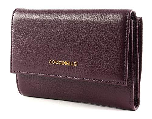 Coccinelle Flap Wallet metallico con Flap Wallet morbida Plum