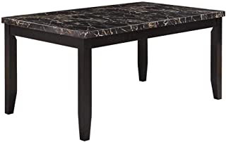 Anisa Dining Table with Faux Stone Top Black