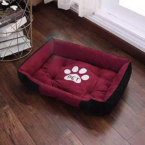 BACKZY MXJP Chenil Paw Print Pet Bed Large House for Large Dog Puppy Kennel Waterproof Cat Basket Four Seasons Nest Warm Pet Supplies