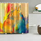 N / A Hochwertige lustige Totoro Duschvorhang Cartoon Tier Polyester Faser Duschvorhang Badezimmer Vorhang Dekoration Duschvorhang-B180cmxH180cm